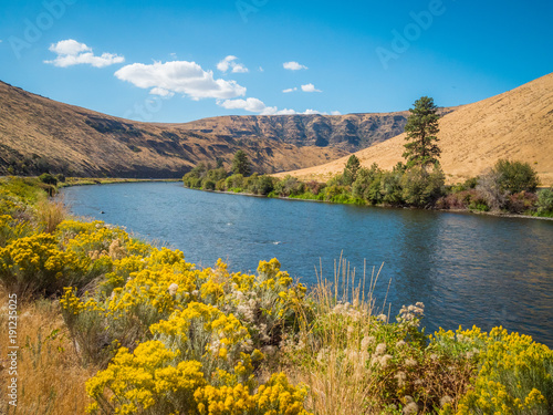 Amazing landscape - big blue river among hills. Yakima Canyon road, Washington