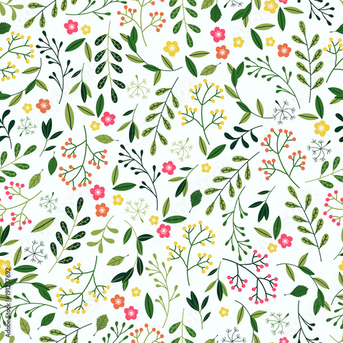 Seamless Spring Floral Pattern. Canvas Print