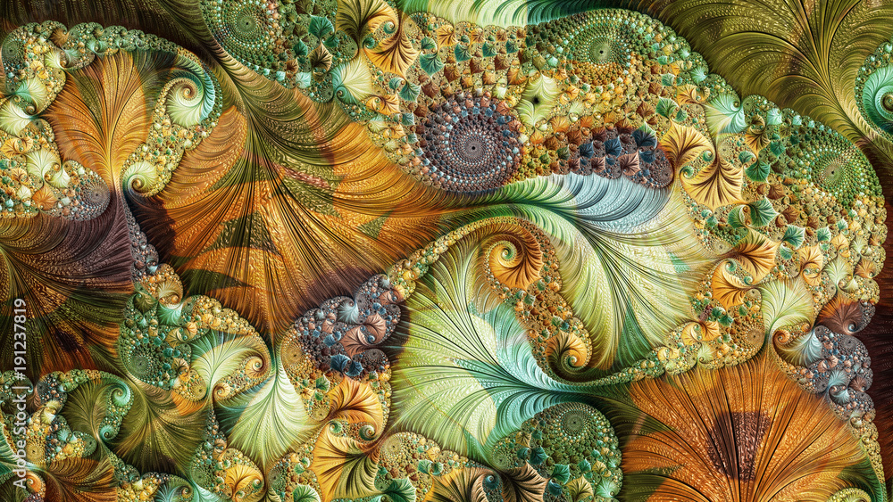 Fototapety, obrazy: An abstract computer generated fractal design. A fractal is a never-ending pattern. Fractals are infinitely complex patterns that are self-similar across different scales.