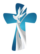 Abstract Christian Cross Symbol Holy Spirit With Dove On Blue Background