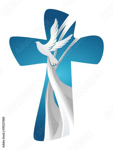 Vászonkép Abstract christian cross symbol Holy Spirit with dove on blue background