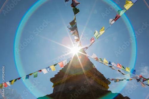 Tablou Canvas Stupa im Gegenlicht im Everestgebiet