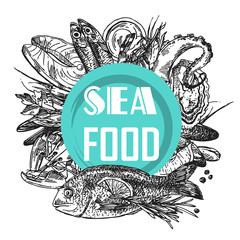 Fototapeta seafood sketch illustration
