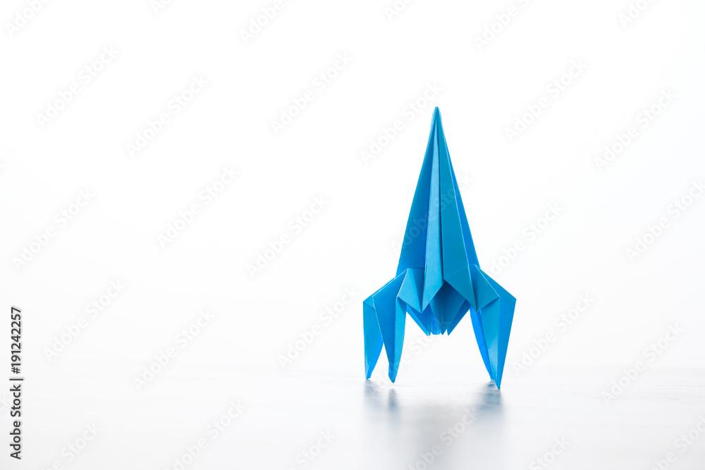 Fototapeta Paper homemade origami rocket.