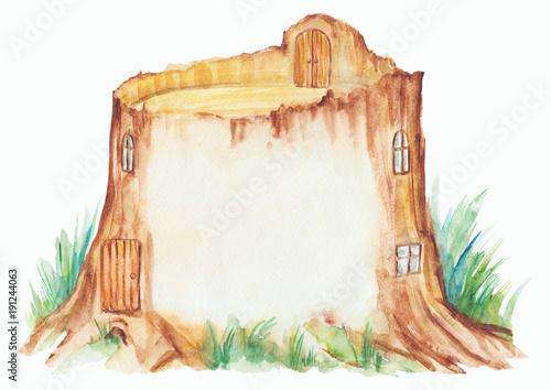 Fairy tale house in a tree stump, watercolor hand drawn