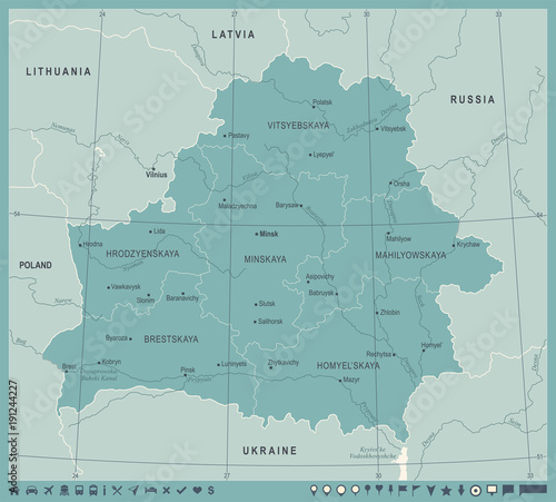 Fototapeta Belarus Map - Vintage Detailed Vector Illustration