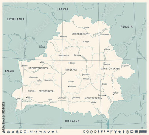 Obraz na plátně Belarus Map - Vintage Detailed Vector Illustration