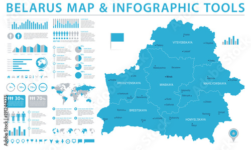 Fotografie, Obraz Belarus Map - Info Graphic Vector Illustration