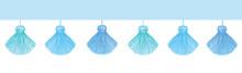 Vector Fun Blue Decorative Tassels Set Horizontal Seamless Repeat Border Pattern. Great For Handmade Cards, Invitations, Wallpaper, Packaging, Nursery Designs.