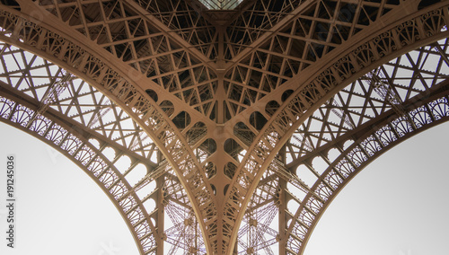 architectural detail of the Eiffel Tower in Paris