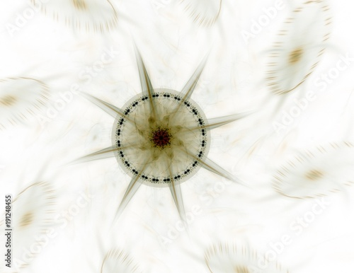 Plakát  Particles of abstract fractal forms on the subject of nuclear physics science and graphic design