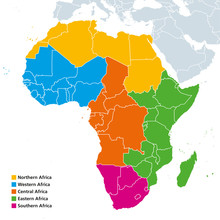 Africa Regions Political Map. United Nations Geoscheme With Single Countries. Northern, Western, Central, Eastern And Southern Africa In Different Colors. English Labeling. Illustration. Vector.