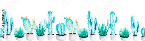 Foto op Canvas Cactus Cactus and succulent plants in flower pot. Pattern of watercolor elements for design