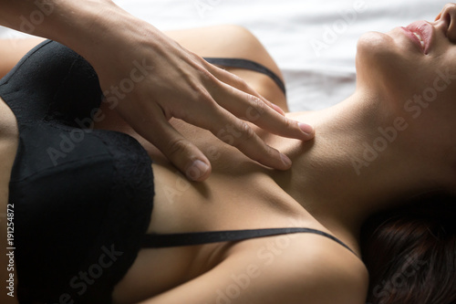 Male hand stroking female chest, passionate lover caressing arousing beautiful w Canvas Print