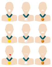 3 Sets Of 3 Medalists Each Wit...