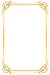 Decorative frame and border for design of birthday and greeting card wedding, Golden frame, Vector illustration