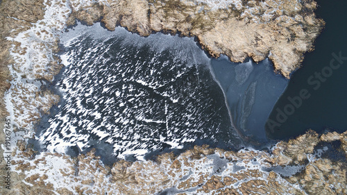 Valokuvatapetti Winter landscape from drone