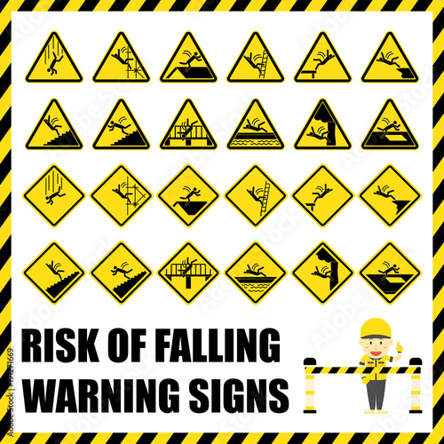 Set Of Safety Warning Signs And Symbols Of The Risk Of Falling