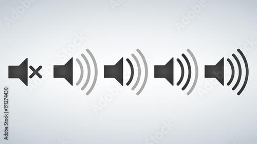 Fotografía  Set of Sound Icons Vector Design Flat Style Volume levels.