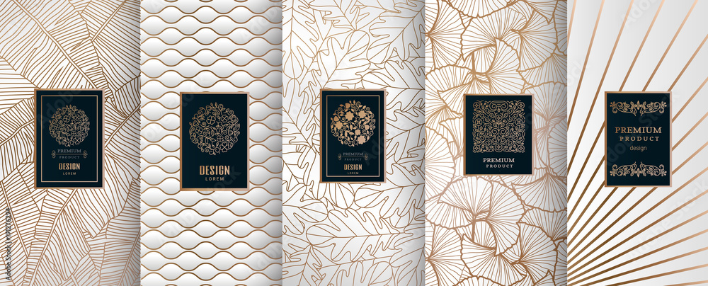 Fototapeta Collection of design elements,labels,icon,frames, for packaging,design of luxury products.Made with golden foil.Isolated on silver and and white background. vector illustration