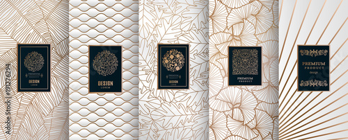 Obraz Collection of design elements,labels,icon,frames, for packaging,design of luxury products.Made with golden foil.Isolated on silver and and white background. vector illustration - fototapety do salonu