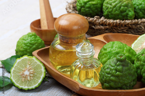 bergamot with aromatic spa of bottles essential oil Wallpaper Mural