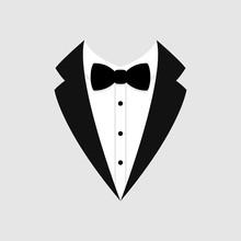 Man's Jacket. Tuxedo. Weddind Suit With Bow Tie. Vector Icon.
