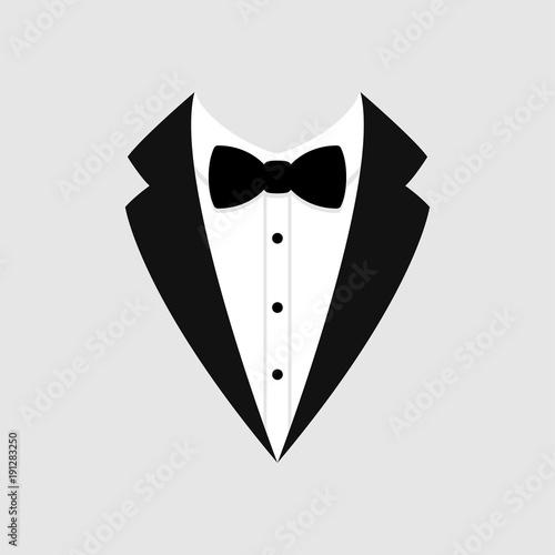 Fotografie, Obraz Man's jacket. Tuxedo. Weddind suit with bow tie. Vector icon.
