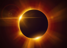 Total Solar Eclipse. Natural Astronomical Phenomenon. Shadow Of The Moon And Aura Of Solar Corona. Realistic Effect With Gold Light And Sun Rays.