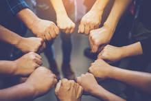 Business Of People Joining Their Hands. Teamwork Concept.
