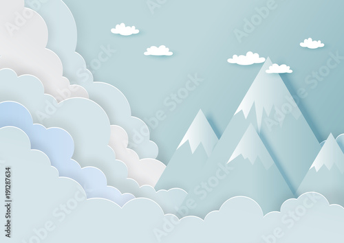 Tuinposter Lichtblauw Paper art style of mountains, clouds and blue sky with nature landscape background.Vector illustration.