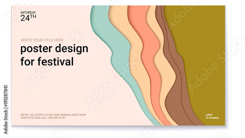 Poster design for festival with abstract pattern of cut paper. The symbol of the surf, wind or smoke. Horizontal vector template of poster, design layout for brochure, banner, flyer. © eriksvoboda