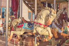 Horses On A Carnival Merry-Go-Round. Toned