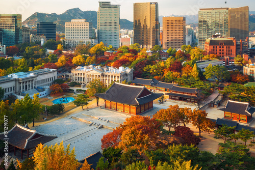 Poster de jardin Seoul Autumn of Deoksugung royal palace
