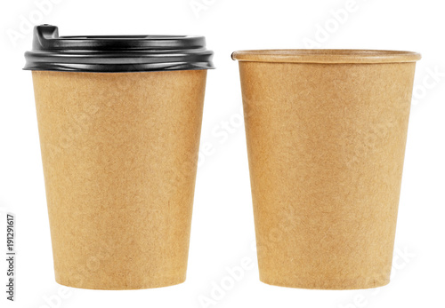 Paper cups isolated on white background