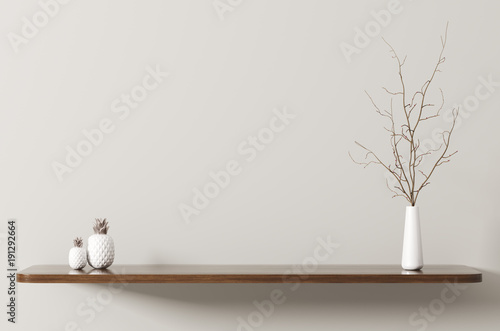 Fényképezés Shelf with branch 3d rendering
