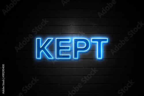 Fotografía  Kept neon Sign on brickwall