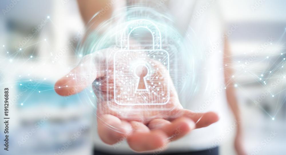 Fototapeta Businessman using digital padlock with data protection 3D rendering