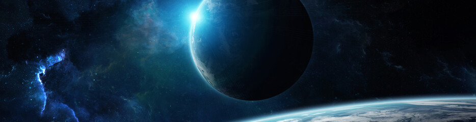 Fototapeta Panorama of distant planet system in space 3D rendering elements of this image furnished by NASA
