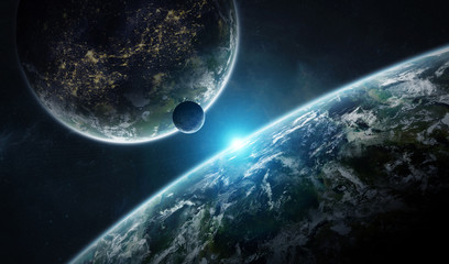 Fototapeta Distant planet system in space with exoplanets 3D rendering elements of this image furnished by NASA