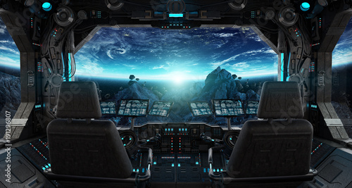 Fotografia Spaceship grunge interior with view on planet Earth