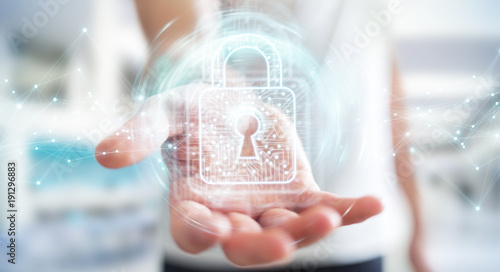 Businessman using digital padlock with data protection 3D rendering