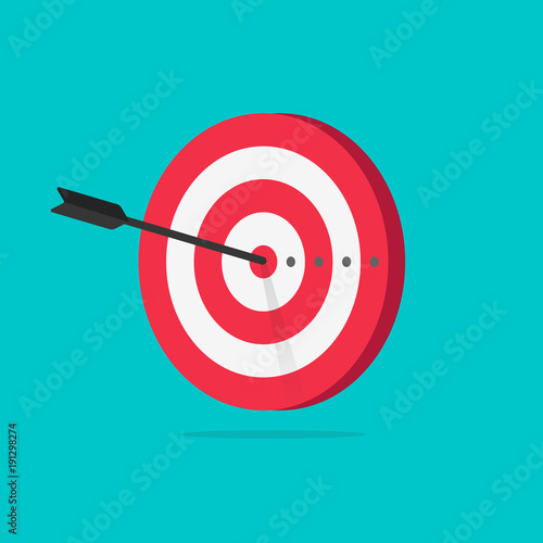 Target vector icon illustration, flat cartoon target with arrow in center of aim Canvas Print