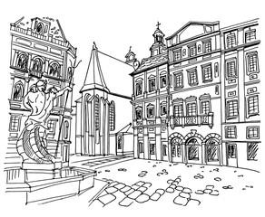 Vector sketch of street scene in Lviv, Ukraine.