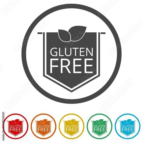 Gluten free icon, No gluten / gluten free food label, 6 Colors