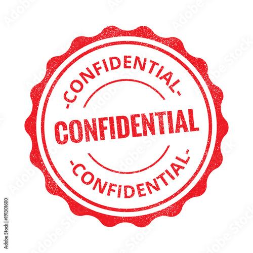 Valokuvatapetti Confidential grunge retro red isolated stamp on white background