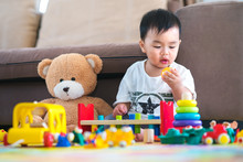Asian Boy Play A Toy With Teddy Bear In Lieving Room