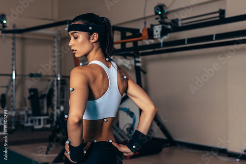 Sportswoman with motion capture sensors Canvas