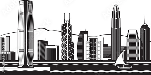fototapeta na ścianę Hong Kong skyline by day - vector illustration