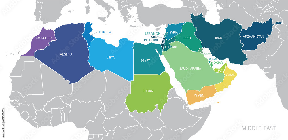 Fototapety, obrazy: Map of Middle East. Vector